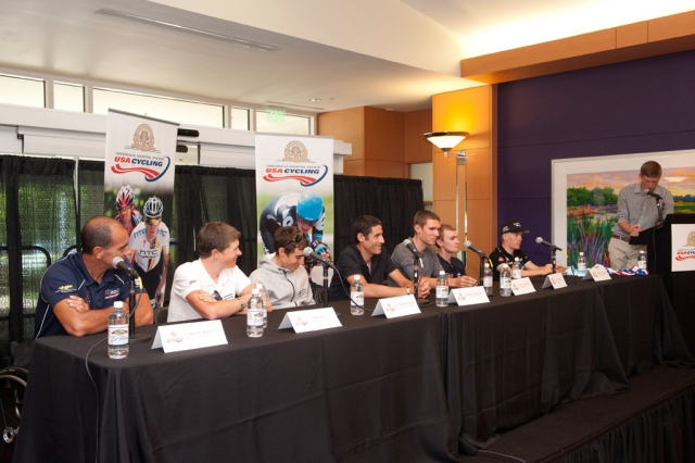 George Hincapie, Tejay van Garderen and Matthew Busche were among the distinguished guests on the dais at the kickoff press conference. (Photo by Casey B. Gibson)