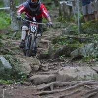 A rider tackles the slopes of Snowshoe Mountain