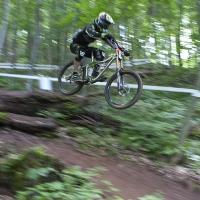 Major air on a downhill jump