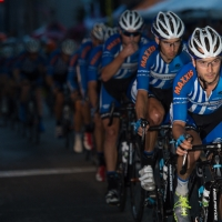 "The UnitedHealthcare riders form their ""Blue Train"""