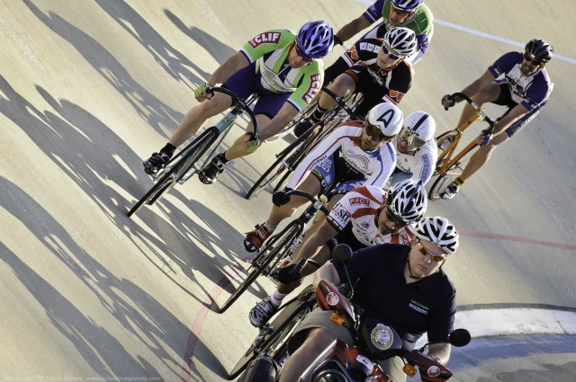The men competed in a very entertaining keirin at the ,500 Midwest Challenge at MTV. (Photo by Mike Almert, Action Images Indy)
