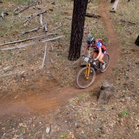 Sara Sheets rounds a corner on the Broken Nose Trail