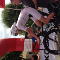 T.J. Eisenhart wearing all white while racing the time trial