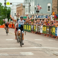 Travis McCabe bolted to the win at the stage 5 Menomonie Road Race