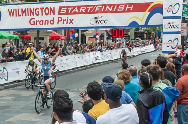 Kelly Fisher-Goodwin sprinted to victory at the Wilmington Grand Prix on Saturday. (Photo by Les Kipp)