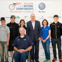 The riders pose with Jonathan Browning, President and CEO, Volkswagen Group of America