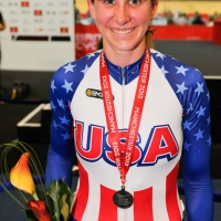 Beth Newell shows off her points race silver medal