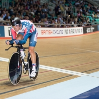 Jake Duehring rides in the individual pursuit portion of the omnium