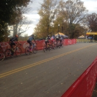 The lead group of elite men on the first lap of the race