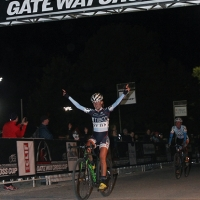 Amanda Miller celebrates winning the first race of the 2013 Gateway Cross Cup