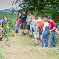 Helen Wyman cresting a climb on Day 2 of Catamount Grand Prix