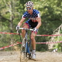 Jonathan Page navigating a sand pit on course