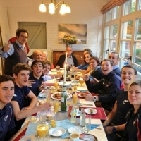 The riders enjoying a post-race meal in Koksijde in Belgium