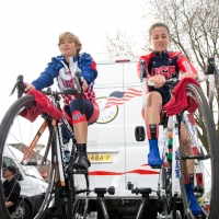 Lauren Hall )l) and Ruth Winder (r) warm up before the team time trial