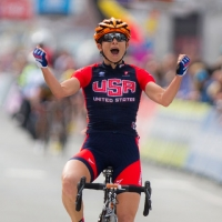 Lauren Hall showed off the new kits to the world by winning the Gent-Wevelgem race on March 30