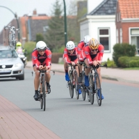 Team USA approaches the final corner of the team time trial
