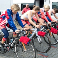 Team USA warms up for the team time trial