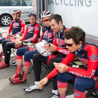 The U.S. team relaxes before the 2014 U23 Tour of Flanders