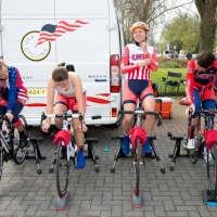 Warming up for the team trial at the Energiewacht Tour