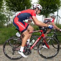 Yannick Eckmann rides the cobbles at the 2014 U23 Tour of Flanders