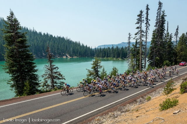 Riders compete at the 2014 Cascade Cycling Classic in Bend, Oregon.