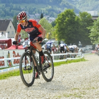 Casey Williams competes at the 2014 UCI Mountain Bike World Cup #4.