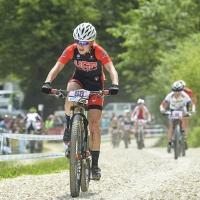 Chloe Woodruff sprints at the 2014 UCI Mountain Bike World Cup #4.