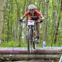 Evelyn Dong competes at the 2014 UCI Mountain Bike World Cup #4.