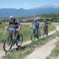 Katerina Nash, Catherine Pendrel and Emily Batty ride in the US Cup Pro Series finale in Colorado Springs
