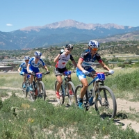 Katerina Nash, Emily Batty, Georgia Gould and Catherine Pendrel out in front of the US Cup Pro Series finale