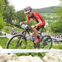 Russell Finsterwald competes at the 2014 UCI Mountain Bike World Cup #4.