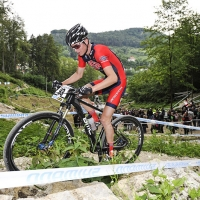 Sepp Kuss competes at the 2014 UCI Mountain Bike World Cup #4.
