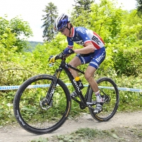 Stephen Ettinger competes at the 2014 UCI Mountain Bike World Cup #4.