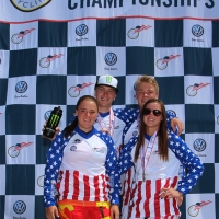 All four national champions posed on the podium