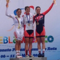 Evelyn Stevens won gold and Megan Guarnier took bronze in the individual time trial at the 2014 Pan American Continental Road Championships