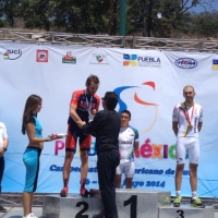 Joey Rosskopf accepts his silver medal for the road race at the 2014 Pan Am Championships