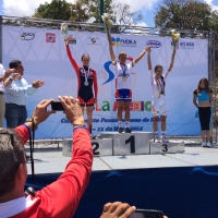 Megan Guarnier on the podium with her silver medal in the road race