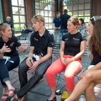 Olympic champion Kristin Armstrong talks with Tom Zirbel, Jade Wilcoxson and Carmen Small