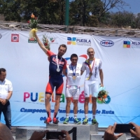 Road race silver medalist Joey Rosskopf at the 2014 Pan Am Road Championships