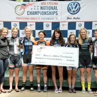 Seven of the 10 RallyMe athletes were on hand to accept USA Cycling