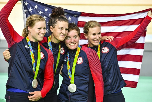 The USA grabbed the silver in the team pursuit in Rio!