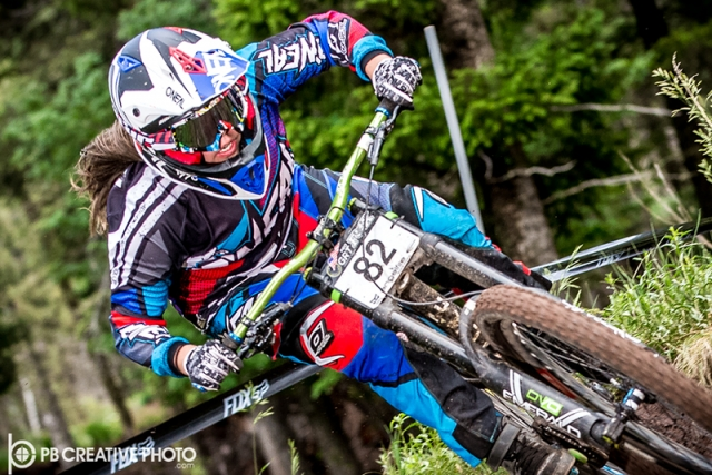 Samantha Kingshill raced to first in the women's Pro GRT with her win at Angel Fire.