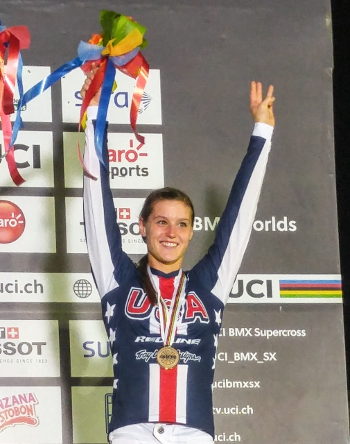 Alise Post with her bronze medal after hte Supercross