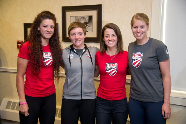 Chloe Dygert, Kelly Catlin, Ruth Winder and Jennifer Valente were on hand Thursday in support of USA Cycling.