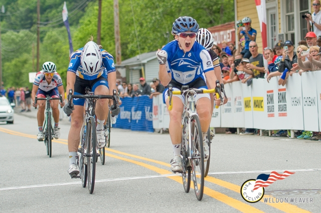 Monica Volk (Penn State) outsprints the selection for the 2016 Womens D1 Collegiate National Road Race championship