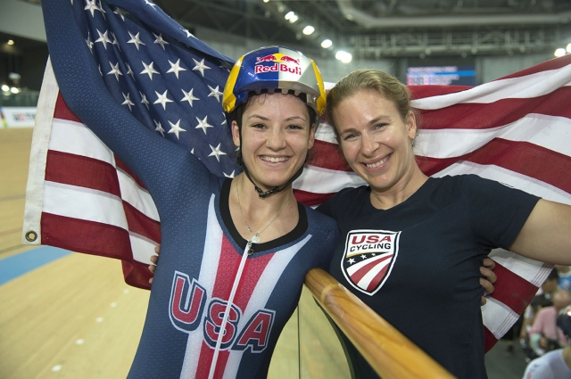 Chloe Dygert poses with Sarah Hammer after winning the individual pursuit on April 15