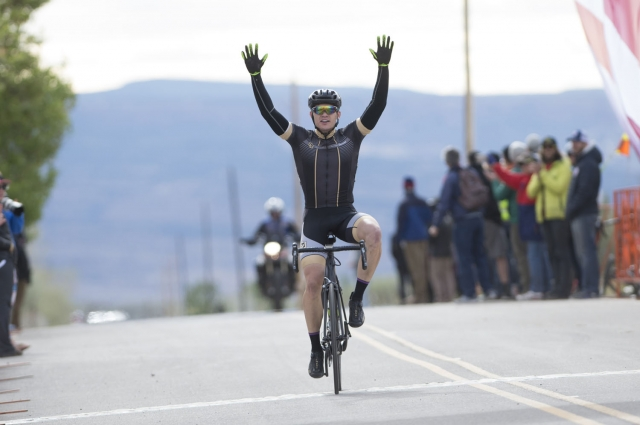 Cyrus Pearo of the University of Colorado Denver wins the men's club road race