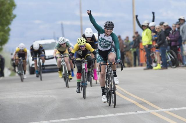 Erica Allar of Piedmont College wins the women's varsity road race