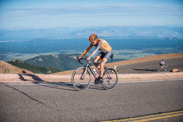 A rider nears the summit of Pikes Peak