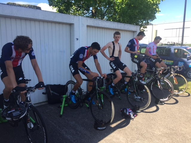 Team USA cools down after a tough third stage at the 2017 Tour de Alsace